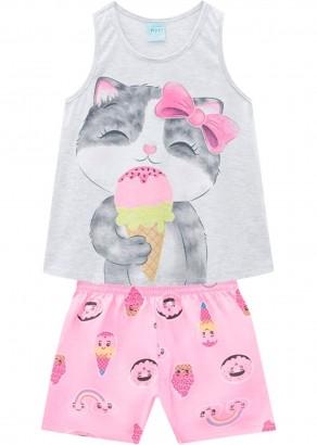 Pijama Infantil Feminino Cat Branco - Kyly