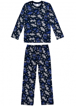 Pijama Infantil de Inverno Masculino Dinossauro Marinho - Malwee