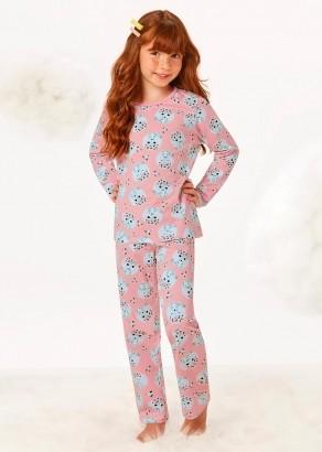 Pijama Infantil Feminino Inverno Rosa Estampado Malwee
