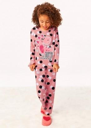 Pijama Infantil Inverno Feminino Dinossauro Rosa - Malwee