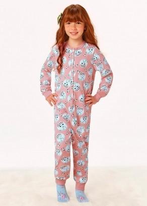 Macacão/Pijama Infantil Feminino Inverno Rosa Malwee