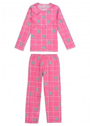 Pijama Infantil Inverno Feminino Coração Rosa - Malwee