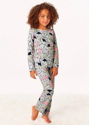 Pijama Infantil de Inverno Feminino Gatinho Cinza - Malwee
