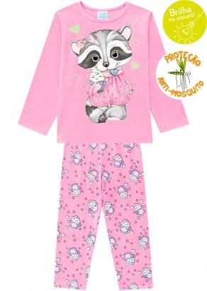 Pijama Infantil Feminino Anti-Mosquito Rosa que Brilha no Escuro Inverno Kyly