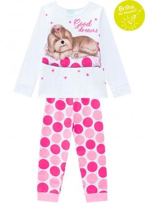 Pijama Infantil Feminino Branco que Brilha no Escuro Inverno Kyly