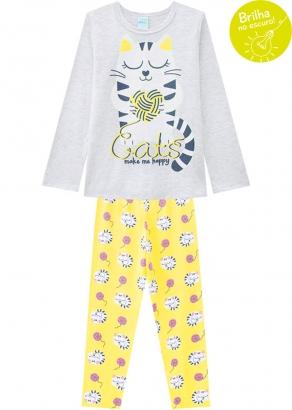 Pijama Infantil Feminino Inverno Brilha no Escuro Cats Cinza Kyly