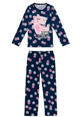 Pijama Infantil Feminino Inverno Azul Dino Malwee