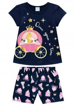 Pijama Infantil Feminino Carruagem Azul Marinho – Kyly