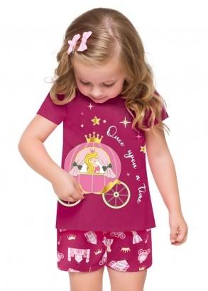 Pijama Infantil Feminino Carruagem Magenta - Kyly