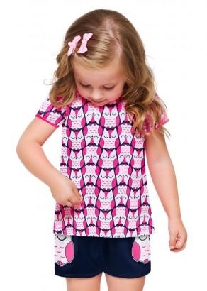 Pijama Infantil Feminino Coruja Rosa Choque - Kyly