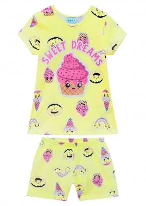 Pijama Infantil Feminino Dream Amarelo Melão - Kyly