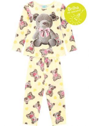 Pijama Infantil Feminino Inverno Amarelo Bear Kyly
