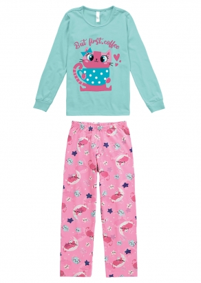 Pijama Infantil Feminino Inverno Azul Cat - Malwee