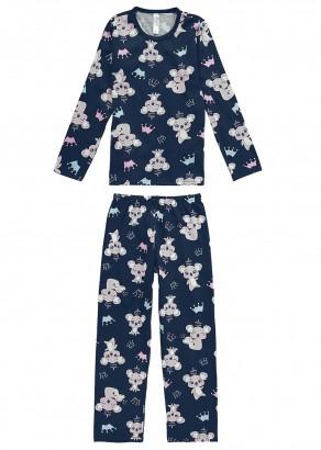 Pijama Infantil Feminino Inverno Azul Cute Malwee