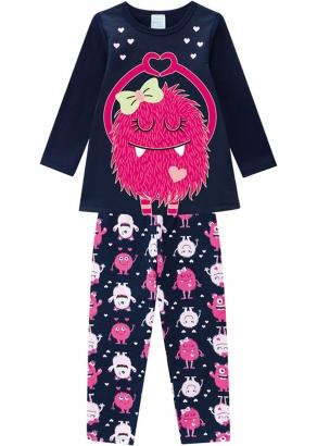 Pijama Infantil Feminino Inverno Azul Monstrinha Kyly