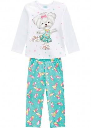 Pijama Infantil Feminino Inverno Branco Candy Dog Kyly