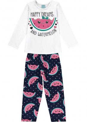 Pijama Infantil Feminino Inverno Branco Happy Dreams - Kyly
