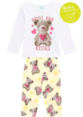 Pijama Infantil Feminino Inverno Branco Hugs Kyly