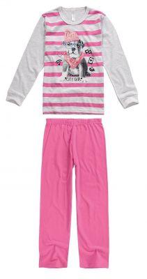 Pijama Infantil Feminino Inverno Cinza Mescla City Girl Malwee
