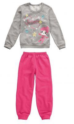 Pijama Moletom Infantil Feminino Inverno Cinza Mescla Dreamer Malwee