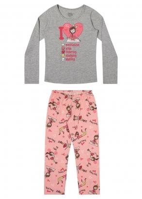 Pijama Infantil Feminino Inverno Cinza Relax - Elian