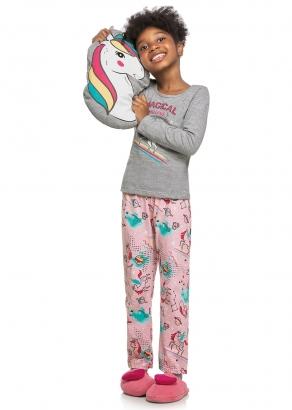 Pijama Infantil Feminino Inverno Cinza Unicórnio - Elian