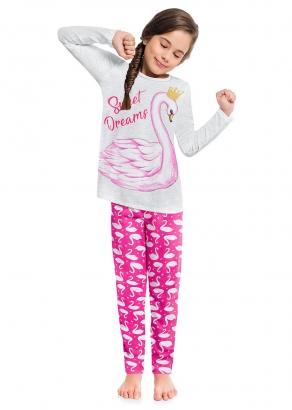Pijama Infantil Feminino Inverno Mescla Cisne Kyly