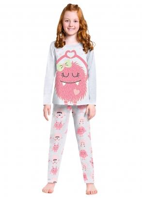 Pijama Infantil Feminino Inverno Mescla Monstrinha Kyly