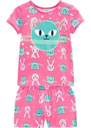 Pijama Infantil Feminino Rosa Animals Kyly