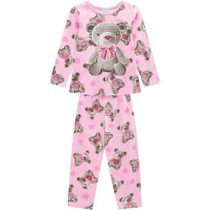 Pijama Infantil Feminino  Inverno Rosa Bear Kyly