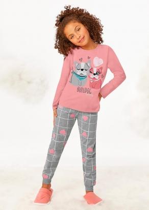 Pijama Infantil Feminino Inverno Rosa Bulldog Lover - Malwee