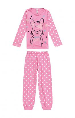 Pijama Infantil Feminino Inverno Rosa Bunny Malwee