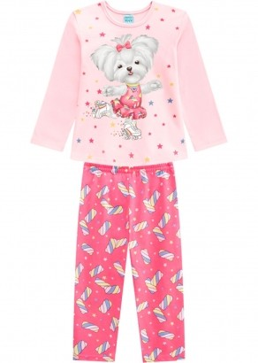 Pijama Infantil Feminino Inverno Rosa Candy Dog Kyly