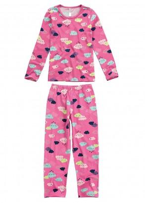 Pijama Infantil Feminino Inverno Rosa Clouds Malwee