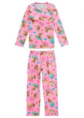 Pijama Infantil Feminino Inverno Rosa Coelho Malwee