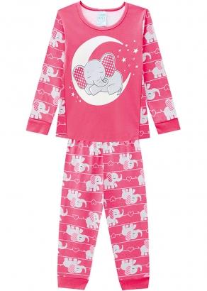 Pijama Infantil Feminino Inverno Rosa Elefante Kyly