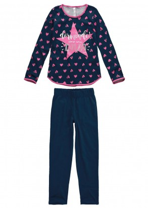 Pijama Infantil Feminino Inverno Rosa Dormindo Malwee
