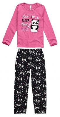 Pijama Infantil Feminino Inverno Rosa Time Sleep Malwee