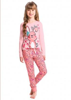 Pijama Infantil Feminino Inverno Rosa Love Malwee