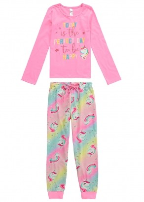 Pijama Infantil Feminino Inverno Rosa Unicórnio Malwee