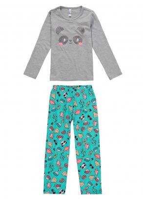 Pijama Infantil Feminino Mãe e Filha Cinza Inverno Malwee