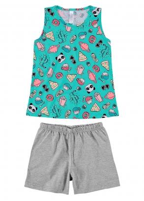 Pijama Infantil Feminino Mãe e Filha Verde Malwee