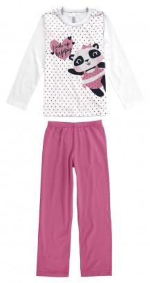 Pijama Infantil Feminino  Inverno Branco Panda Malwee
