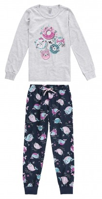 Pijama Infantil Feminino  Inverno Cinza CupCute Malwee