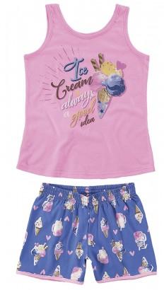 Pijama Infantil Feminino Verão Rosa MÃE E FILHA Malwee