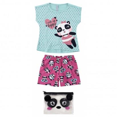 Pijama Infantil Feminino Verão Azul Happy Panda Malwee