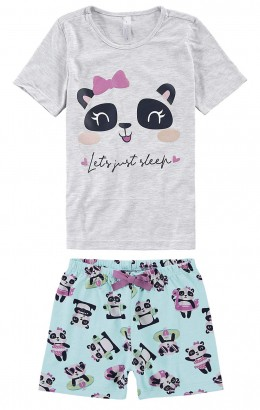 Pijama Infantil Feminino Verão Cinza Panda Sleep Malwee