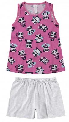 Pijama Infantil Feminino Verão Rosa Panda Summer Malwee