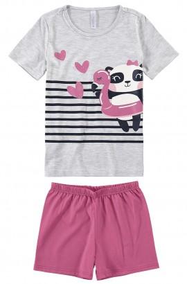 Pijama Infantil Feminino Verão Cinza Panda Love Malwee