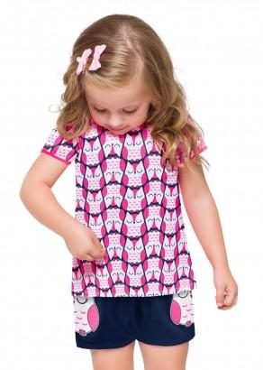 Pijama Infantil Feminino Rosa Choque - Kyly